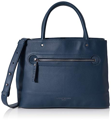 Liebeskind Berlin Damen Mini Daily 2 - Satchel Medium Henkeltasche, Blau (China Blue), 14x28x40 cm