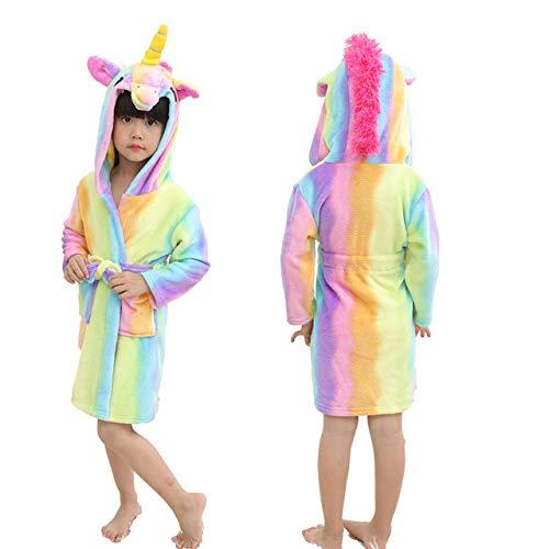 Kinder Bademantel Baby Handtuch Tier Regenbogen Kapuze Bademantel Für Jungen Mädchen Pyjama Kinder Nachtwäsche Cartoon Robe-rainbow tenma-5-11