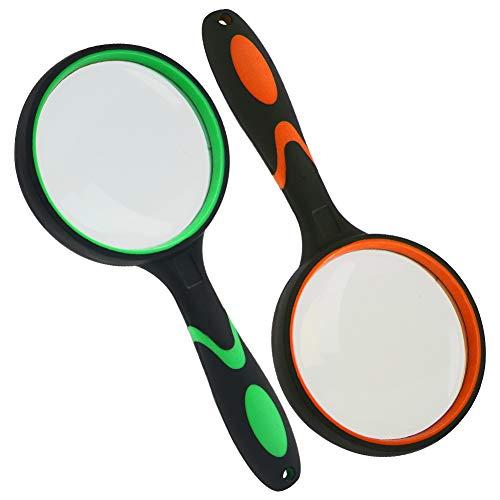 HAKACC 2 Stück Lupe Handheld Lupe für Senioren Kinder Scout Entdecker Lupe für Buchlesen,Insekten- und Hobbybeobachtung, Unterrichtswissenschaft