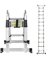 wollketon 3.8M (1.9 + 1.9M) Telescopische Vouwladder, Flexibele Telescopische Ladder, Grote Bruikbaarheid Multifunctionele Ladder, Huishoudladder 150 kg Laadvermogen