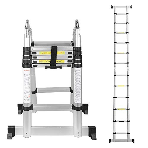 wolketon 3,8(1,9+1,9) M Escalera telescópica de Aluminio Fuerte Estabilidad Escalera plegable Escalera alta multifuncional para loft 6+6 Escalones Antideslizantes Carga 150 KG