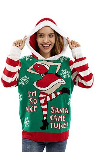 U LOOK UGLY TODAY Damen Weihnachtspullover Hoodie Kapuzenpullover für Weihnachten - Naughty Saucy Minx