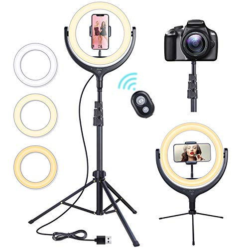 10' Selfie LED Ring Light with 67' Tripod Stand, Ohuhu Circle Lights with Cell Phone Holder for YouTube Video Recording Photography Makeup Tutorials Live Streaming Video Conferencing Zoom Meetings