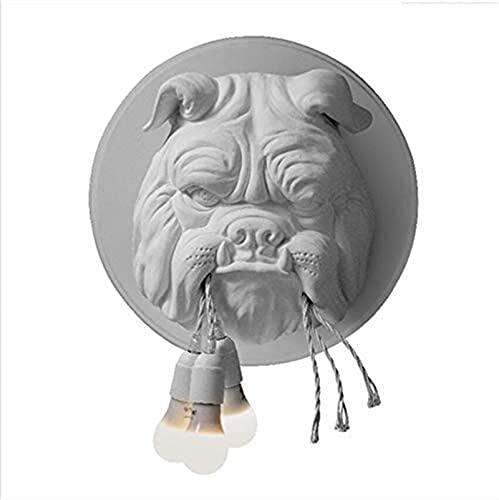 Luz De Pared Cabeza De Animal Lámpara De Pared Sala De Estar Sala Comedor Estudio Dormitorio Personalidad Diseñador Creativo Bulldog Lámpara De Pared (Color : White)