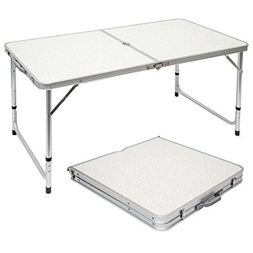 AMANKA Mesa para Acampada 120x60x70cm de Aluminio Plegable portátil como si Fuera un maletín Altura Regulable para pícnic Camping Gris Claro