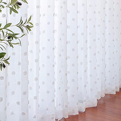 Drewin Sheer Curtains 63 Inches Long 2 Panels Pom Pom Dot Textured Semi Voile Curtain for Girls Bedroom Boho Drapes Nursery Decor, White 52x63 Inches