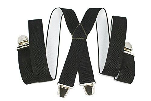 YEHMAN Bretelle large X Made in France 3.5 cm à grosses pinces/clips Homme Femme (Noir)
