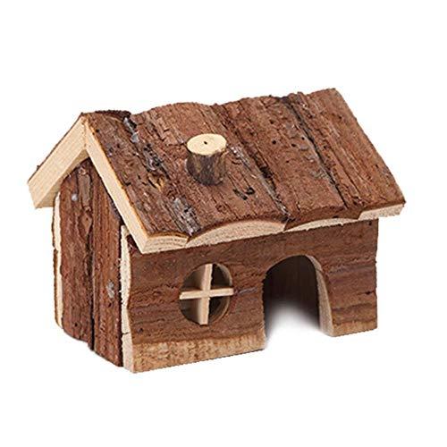 Hamster Haus aus Holz Hamster House Natural Ratten Hideout Hütte mit Kamin Kleintierhaus for Hedgehog Zwerghamster Käfige Pens (Farbe: Stellen Sie Farbe, Größe: L) ZHANGKANG