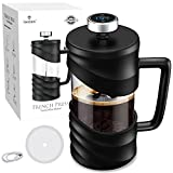 French Press Coffee Maker 34 oz Large Capacity, Thickened Heat-resistant Borosilicate Glass Coffee Press with Temperature Display, Time Reminder