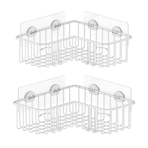 SMARTAKE 2Pack Corner Shower Caddy Adhesive Bath Shelf with Hooks SUS304 Stainless Steel Storage Organizer for Bathroom Toilet Kitchen and Dorm Only for 90 Degrees Right Angle White