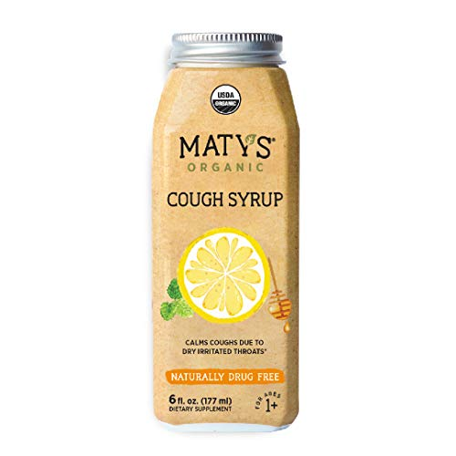 Matys Organic Cough Syrup, 6 Fluid Ounce, Soothes Throats & Calms Dry Coughs with Organic Honey and Immune Boosting Ingredients, Helps Ease Common Cold Symptoms, 6 Ounce