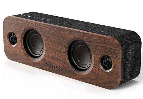 AOMAIS Life Bluetooth Speaker, 30W Loud Home Party Wireless Bluetooth Speakers, 2 Woofers&2 Tweeters for Super Bass Stereo Sound,TWS and 100Ft Bluetooth V5.0,12-Hour Playtime Subwoofer, Imitation Wood