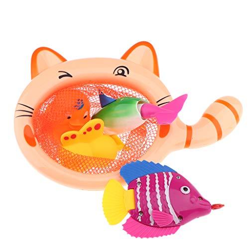 non-brand Juego de Baño Red de Pesca de Dibujos Animados con Peces Pato Plástico Juguete de Diversión para Niños