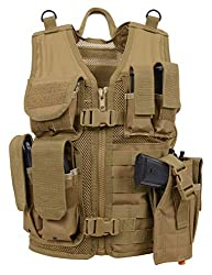 professional Rothco Kid's Cross Draw Tactical Vest, Coyote Brown