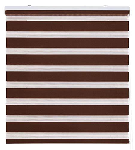 Zebra Textil Sansa Estor Enrollable Doble Tejido, Noche y día, Poliester, Marrón, 105 x 250 cm