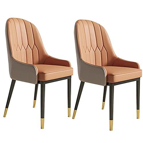 ADGEAAB Juego de 2 sillas de comedor de cocina modernas de cuero con respaldo alto, asiento suave, silla de salón a prueba de agua, silla lateral de cuero con patas de metal (color: C)