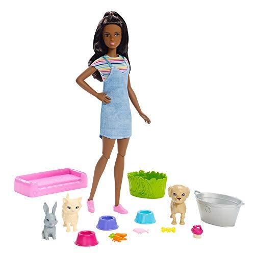 Barbie - Cuidadora de mascotas Muñeca con animales y acceso