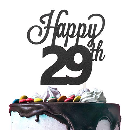 LINGTEER Happy 29th Birthday Black Cake Topper Perfect for Cheers to 29 Years Old Birthday Party Gift Decorations Sign.