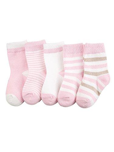 Camilife 5 Paar Baby Jungen Mädchen Baumwolle Socken Set Babysocken Weich Süß und Lieblich - Gestreift Pink 0-1 Jahre alt