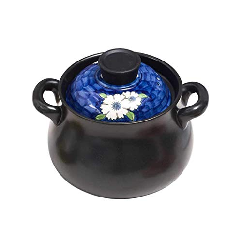 HLJ Handgemalte großer Auflauf Suppentopf Heim Suppe Keramik Suppentopf Kamin Hochtemperatur-Gas Stew Suppe Gesundheit Steintopf (Size : 4L)