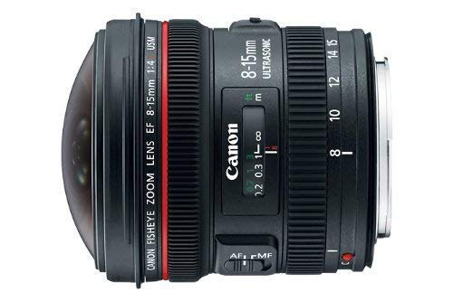 Canon EF 8-15mm f/4L Fisheye USM Ultra-Wide Zoom Lens for Canon EOS SLR Cameras (Renewed)