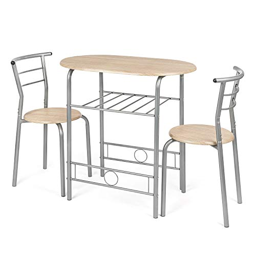 CHRISTOW Dining Table & Chairs Set Of 2, Breakfast Bar Table For 2, Compact 3 Piece Set, Contemporary Washed Wood Finish, Silver