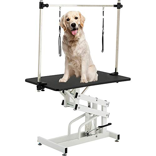 SUNCOO 43 Inch Hydraulic Pet Dog Grooming Table Upgraded Professional Drying Table Heavy Duty Stainless Steel Frame with Adjustable Arm and Noose 400lbs Capacity Height Range 22-39 Inch (Black)