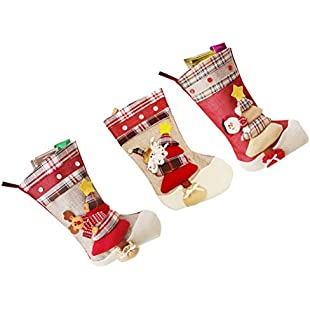 BESTOYARD Christmas Stocking Candies Gifts Bag Xmas Tree Fireplace Hanging Pendant 3Pcs