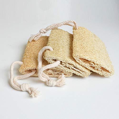 SHUNHUI Luffa naturel avec vieux pot à brosse sans gluten pour laver la vaisselle, la serviette de bain en luffa, la fleur de bain, l'essuyage et le bain exfoliant (lot de 2)