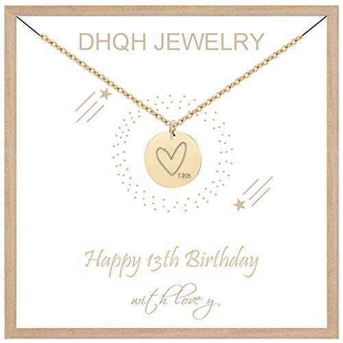 DHQH 13th Birthday Gifts for Girls Necklace Gold Pendant Birthday Necklace Heart Necklace Teenage Girls Gifts Minimalist with Number 13th