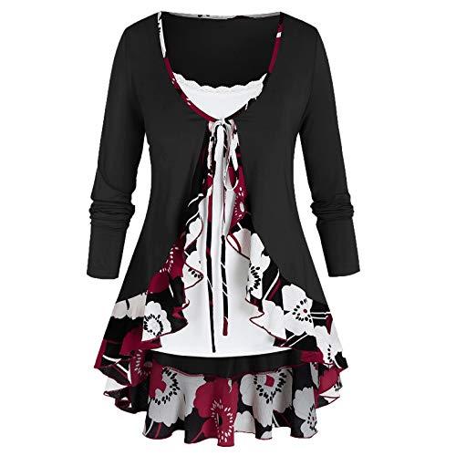 VEMOW Damen Sommer Herbst Elegant Oberteil Langarm O Neck Printed Flarot Floral Beiläufig Täglich Geschäft Trainieren Tops Tunika T-Shirt Bluse Pulli(A2-Schwarz, EU-44/CN-XL)