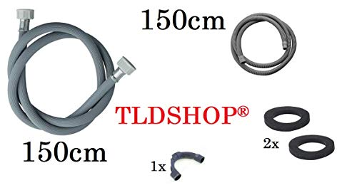 TLDSHOP® Vervanging voor wasmachine - buis + afvoerslang + afvoerslang + 2 rubberen afdichtingen 3/4 inch