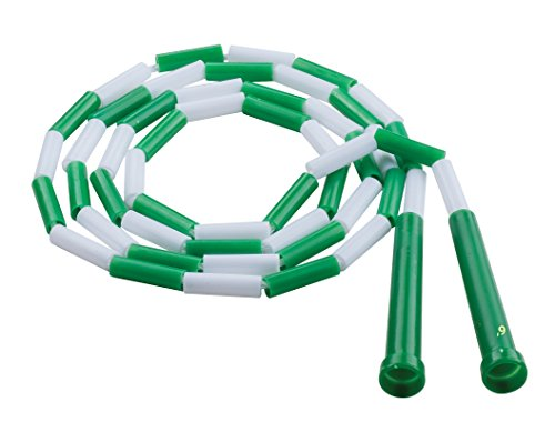 Champion Sports Segmented Jump Rope for Fitness, 6 Feet Length, Green and White - Classic Beaded Jump Ropes for Physical Education, Gym Glass, Personal Use - Premium Skipping Rope for Kids, Adults (PR6)