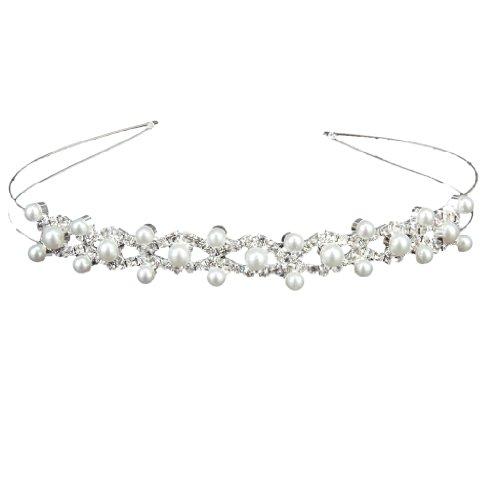 Diadema Tiara Corona Cristal Doble Perla De Novia Boda Nupcial Dama Flor...