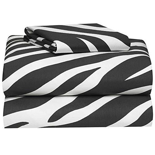 American-Made Cotton Blend 3-Piece Twin XL Sheet Set in Zebra