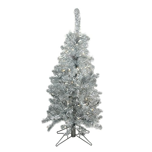 Arett Sales 4' Pre-Lit Medium Silver Tinsel Artificial Christmas Tree - Clear Lights