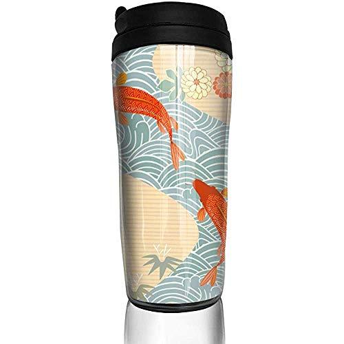 Yuanmeiju Japón carpa pez rojo pez dorado olas chinas botella de agua tazas de viaje taza de café vaso reutilizable taza de viaje al aire libre
