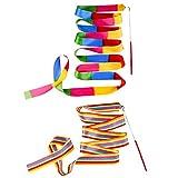 Ceqiny 2 nastri danza con bacchetta 2m ritmica nastro da ginnastica arcobaleno Streamers Dance Streamer Rhythm Sticks Art Ribbon perfetto per talent show bambini arte danza Baton Twirling, assortiti
