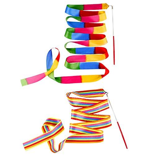 Ceqiny 2 Stück Rhythmic Gymnastics Bänder 2m Tanzbänder Streamer Gymnastik Bänder Rhythmikband Schwungband mit Stab Tanz Bänder für Kunst Tanz Ballett Twirling