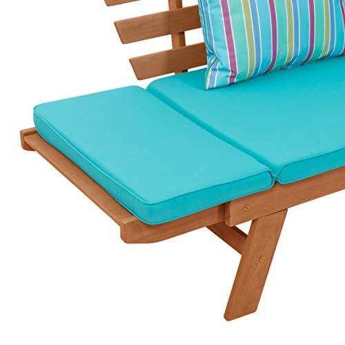 greemotion Multifunktionsbank Borkum akazie/blau, inklusive Kissen, als Sofa und Liege nutzbar, Gartenbank aus FSC® Akazienholz, Holzbank mit leicht schräger Rückenlehne - 8