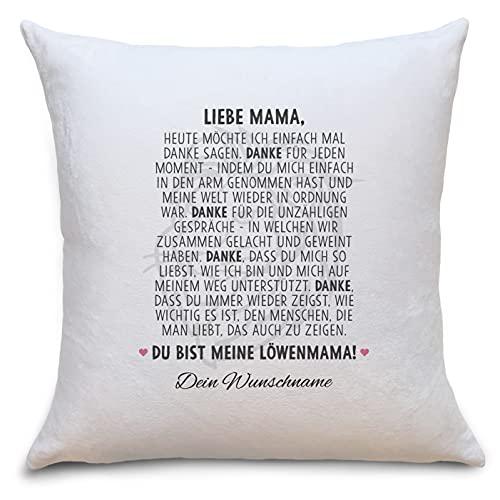 Löwenmama Flauschige Kissenhülle mit Sprüchen Personalisiert mit Namen Geschenke Geschenkideen für Mama zum Geburtstag