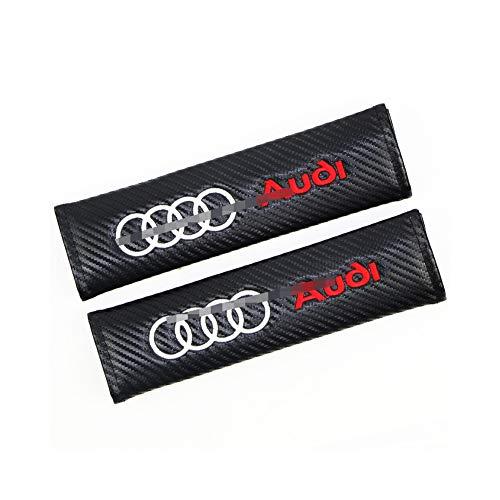 LAUTO 2 Pezzi Cuscino per Cintura di Sicurezza in Fibra di Carbonio per Audi Sline Q5 B8 TT A4L S5 A5 S6 RS7 Q7 A7, ECC.Sicurezza in Auto per Adulti e Bambini Cuscino Spalla Cuscino Cintura,No1