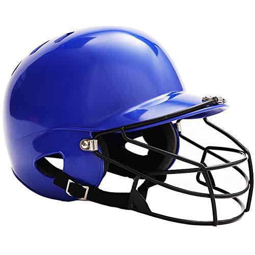 Casco De Béisbol, Adulto Usar Un Casco para Golpear La Cara Casco De Softball Liso Resistente A Los Impactos De Alta Densidad,Azul,Without Mask