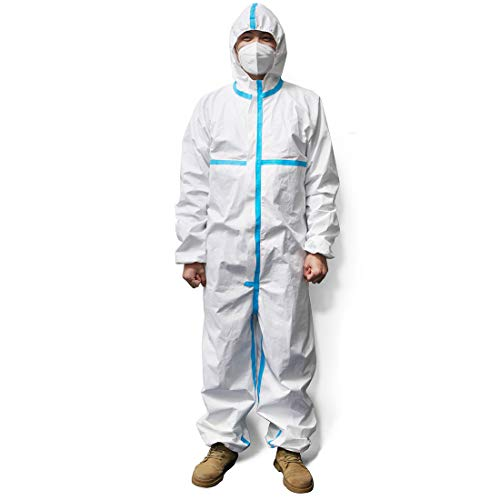 Disposable Protective Coverall Suit Long Front Zipper Elastic Waistband & Cuffs Isolation Suit/1PC