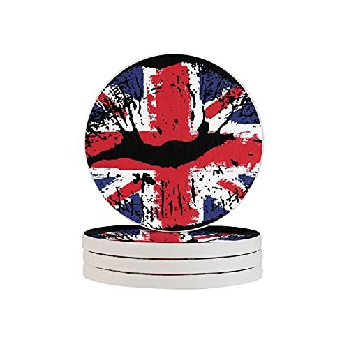 Juego de 6 posavasos de diatomita con diseño de bandera de Gran Bretaña para labios redondos y absorbentes de agua, para coche, oficina, barras de cocina