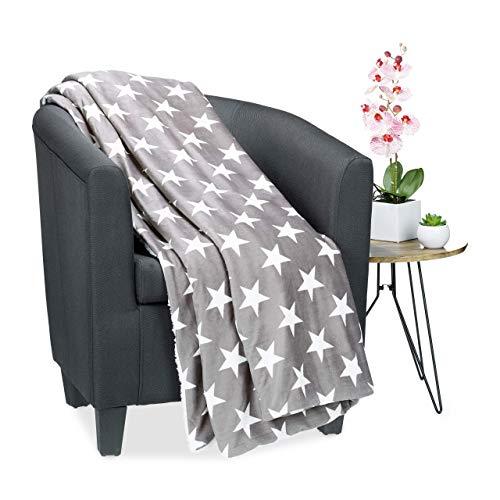 Relaxdays Kuscheldecke Sterne, Flauschige XL Wohndecke, modernes Motiv, Lamfelloptik, waschbar, warm, 220 x 240 cm, weiß, Polyester