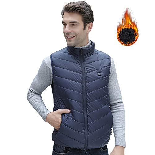 Masskko USB warmte-vest voor heren en dames, verwarmend fleece-vest voor warm wintervest met instelbare temperatuur met 3 snelheden (geen powerbank)