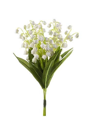 artplants.de Mini Kunst Maiglöckchen Bund, weiß, 20cm - Künstliche Blume - kleine Deko Blüten