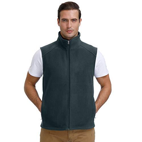 MOHEEN Plus Size Front Zip Outdoor Warm Athletic Sleeveless Fleece Jacket Vests for Men Charcoal XL