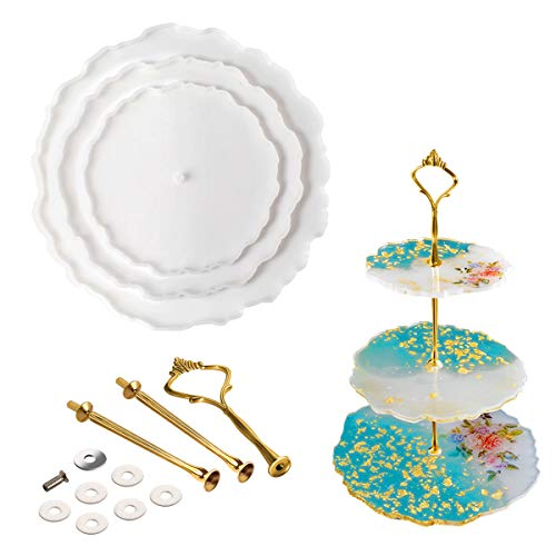 3 Tier Cake Stand Resin Tray Molds, Silicone Molds for Resin,DIY Irregular Epoxy Resin Casting Mold Home Decoration Craft with 3 Pcs Tray Brackets